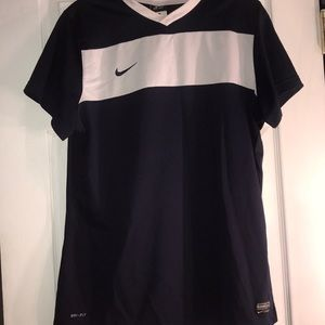 Navy with a white stripe Dri-fit top